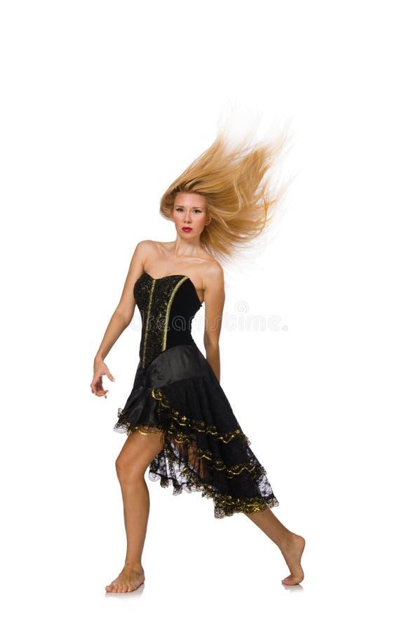 Девушка светлых волос в черном платье вечера изолированном дальше стоковые изображения