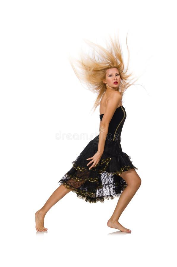 Девушка светлых волос в черном платье вечера стоковая фотография