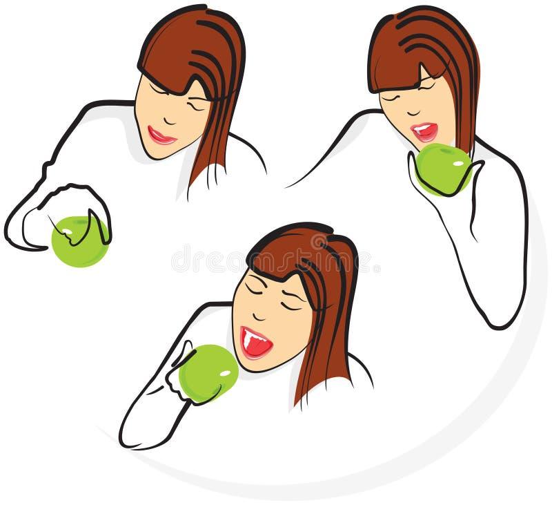 Девушка сдерживает зеленое яблоко, 3 этапа действия иллюстрация штока