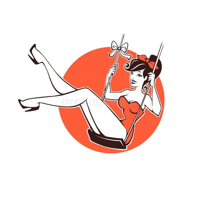 Девушка сексуального и красоты ретро pinup иллюстрация штока