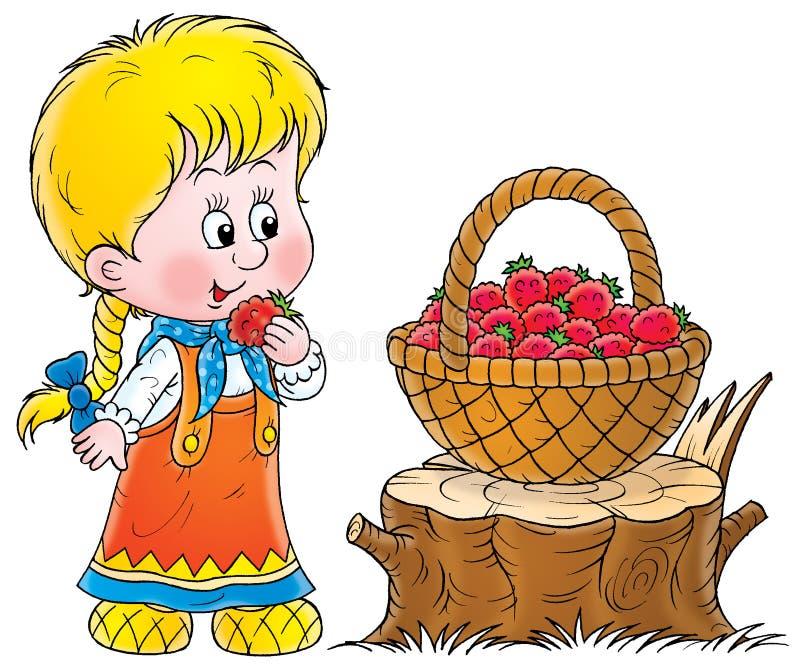 девушка сельская иллюстрация штока