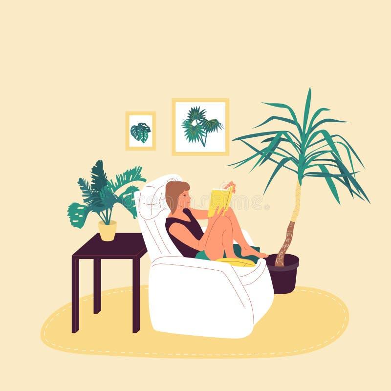 Девушка сидит в кресле и книге чтения в уютной комнате с в горшке тропическими заводами r r иллюстрация вектора