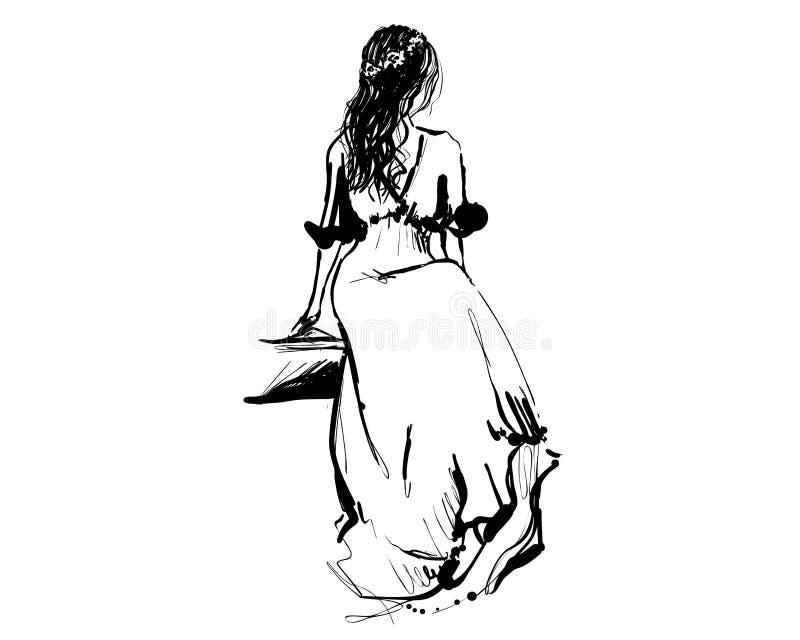 Девушка сидит в помпезном платье Эскиз Qeen иллюстрация вектора