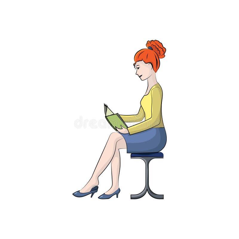 Девушка сидит в стуле и читает абстрактный вектор иллюстрации рыб цвета иллюстрация вектора