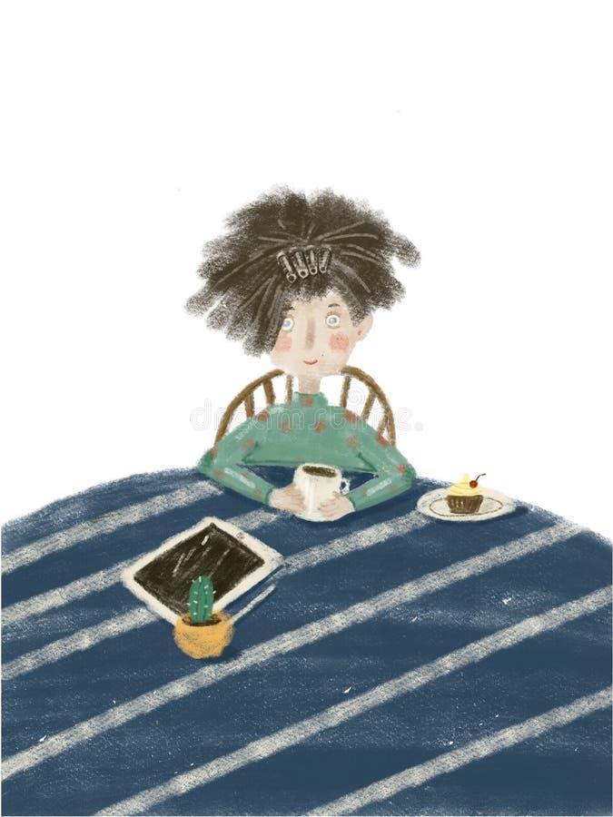 девушка сидит в утре на таблице с планшетом и имеет завтрак иллюстрация штока