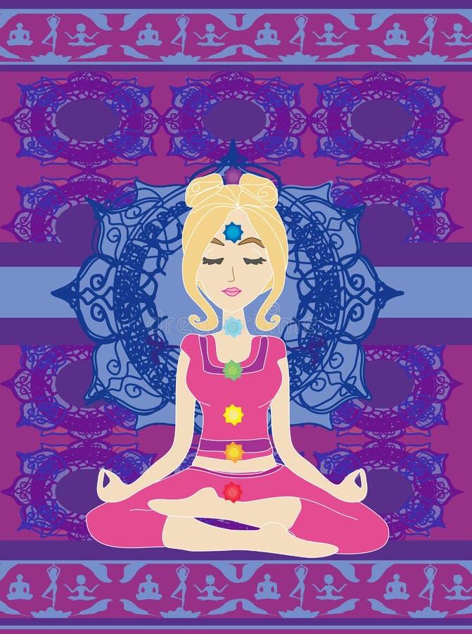 Девушка сидит и размышляет, абстрактная карточка иллюстрация штока