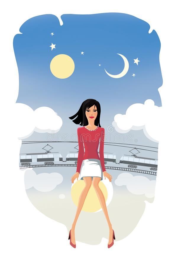 Девушка сидит на луне на предпосылке призрачного трамвая и фантастического неба с солнцем, луной, звездами и облаками иллюстрация вектора