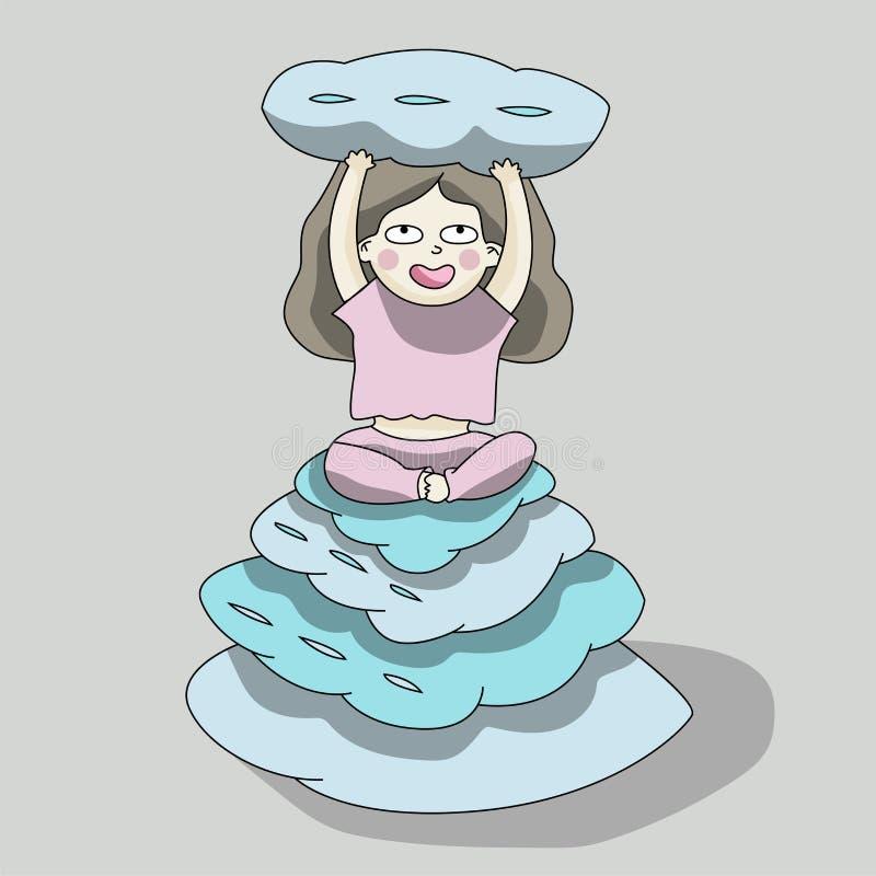 Девушка сидит на подушках иллюстрация штока