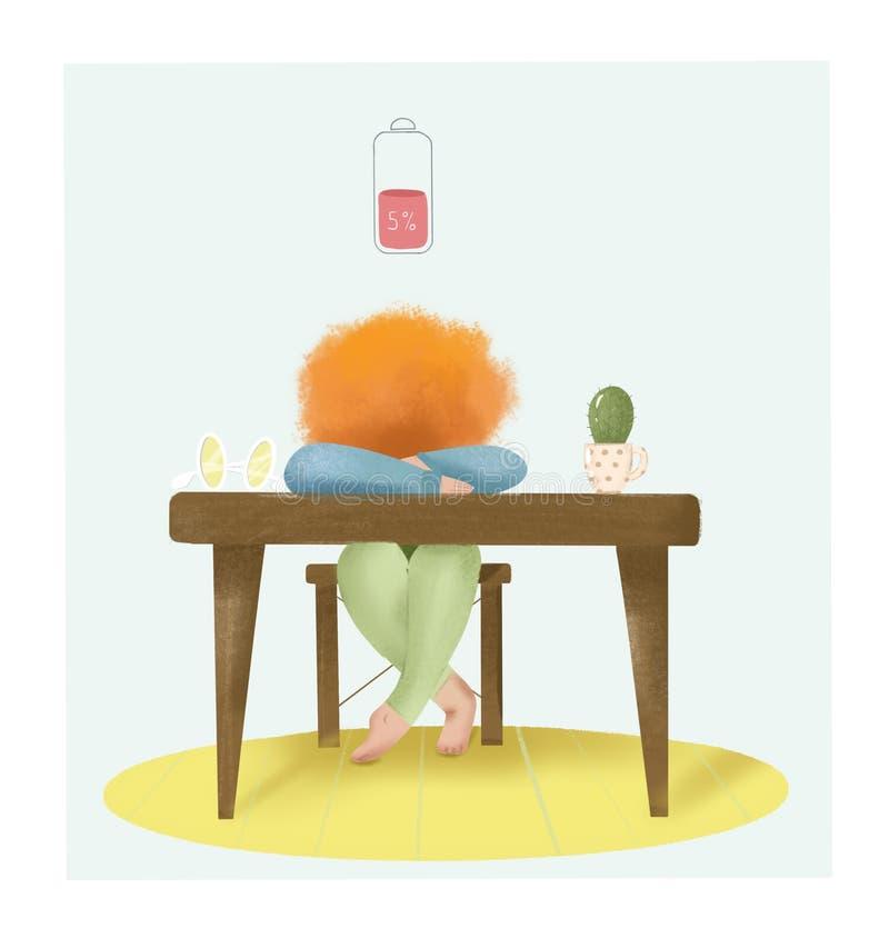 Девушка сидит на таблице и она уставшая Батарея discharged иллюстрация штока