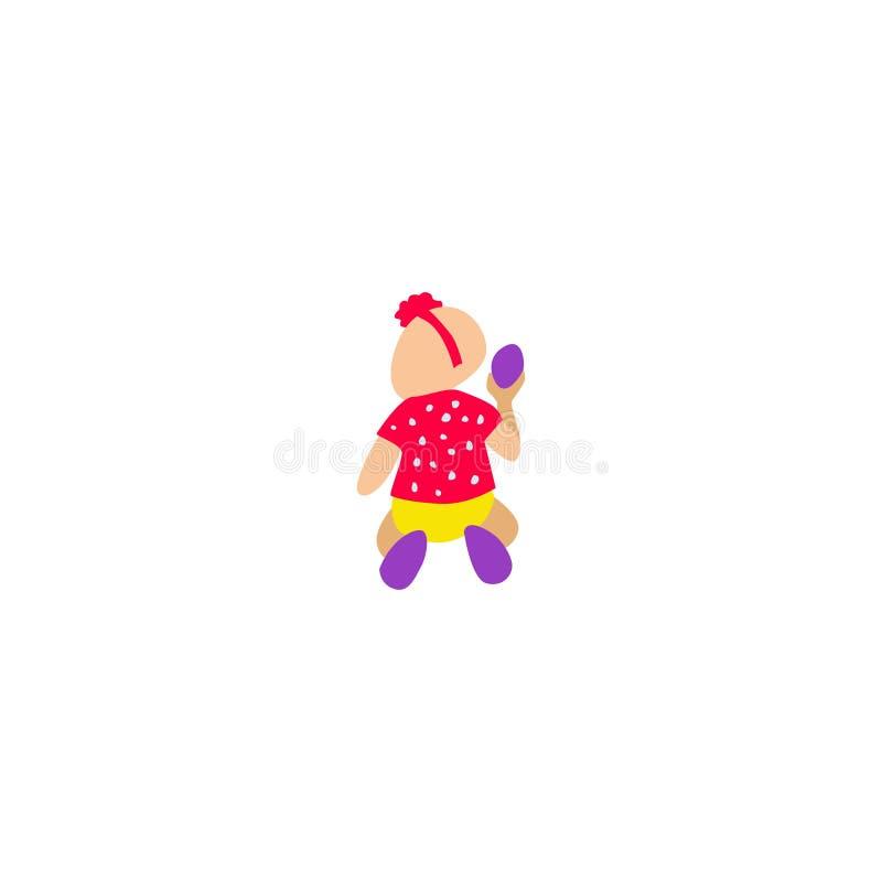Девушка сидит на том основании и держит пасхальное яйцо бесплатная иллюстрация