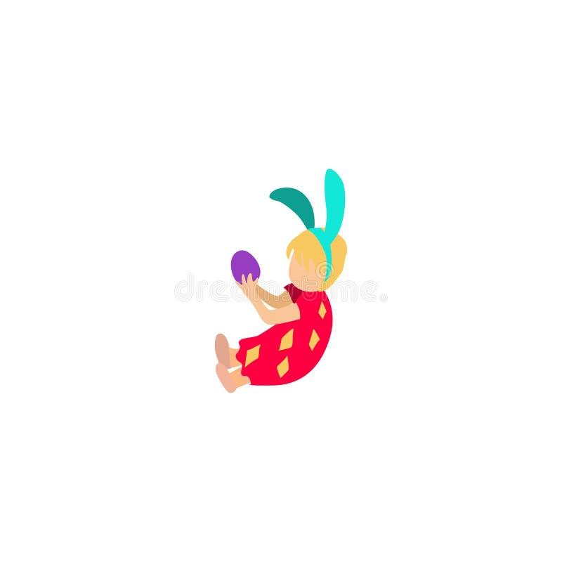 Девушка сидит на том основании и держит пасхальное яйцо иллюстрация вектора