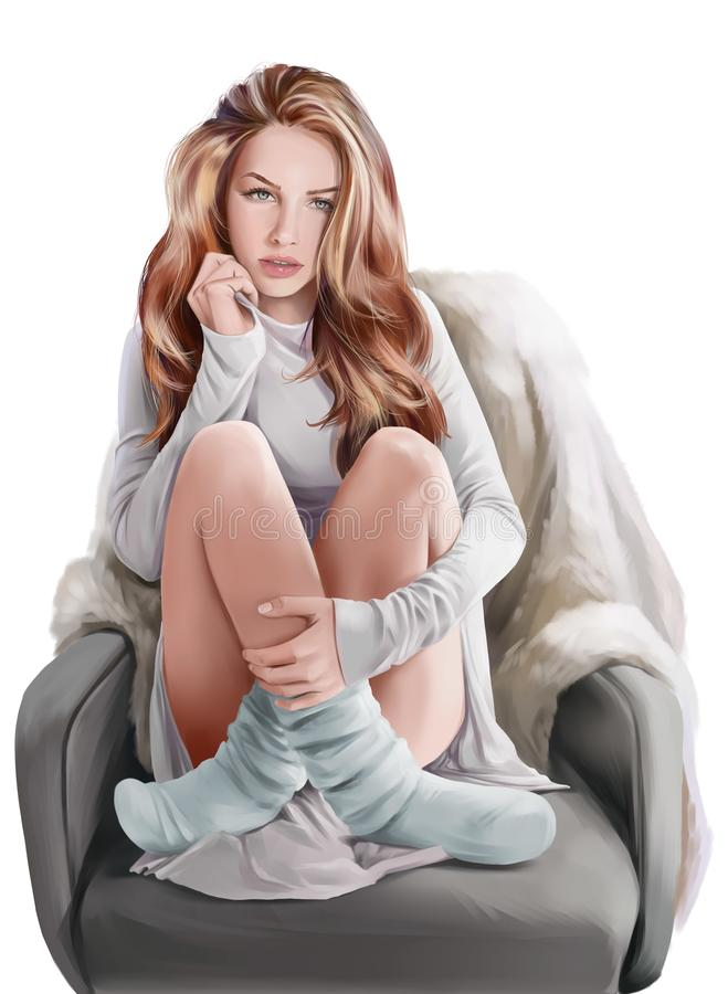 Девушка сидя в стуле самана коррекций высокая картины photoshop качества развертки акварель очень иллюстрация вектора