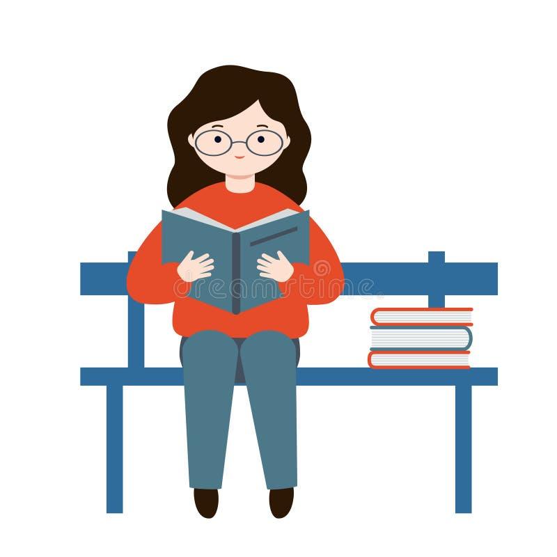 Девушка сидя на стенде и читая книгу Молодая женщина держа открытую книгу Стог книг иллюстрация вектора