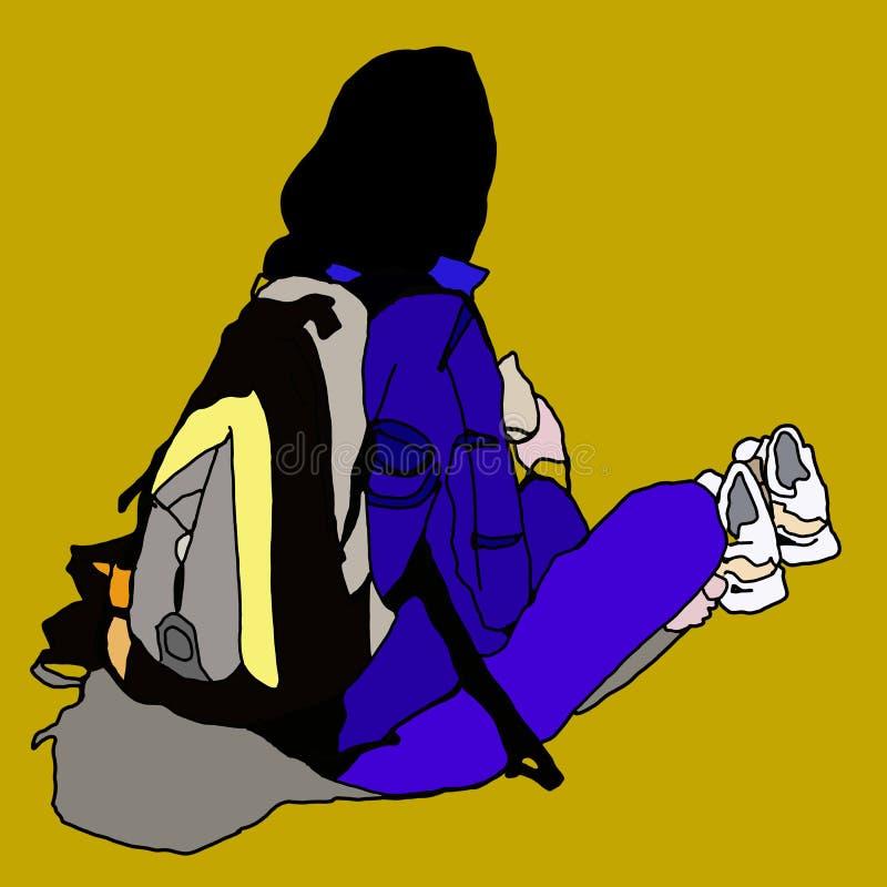 Девушка силуэта отдыхая на пляже иллюстрация штока