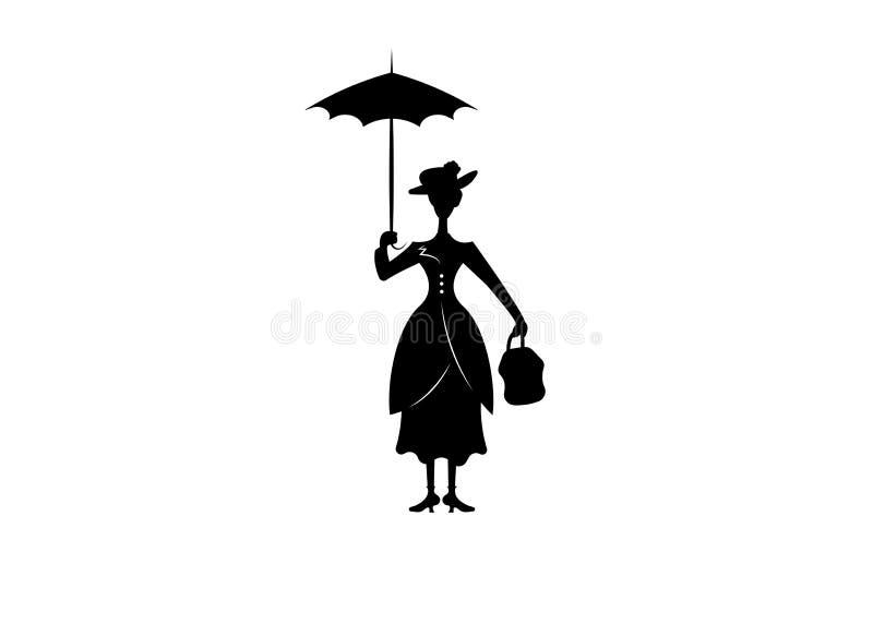 Девушка силуэта плавает с зонтиком в его изолированной руке, стилем Mary Poppins, вектором иллюстрация вектора