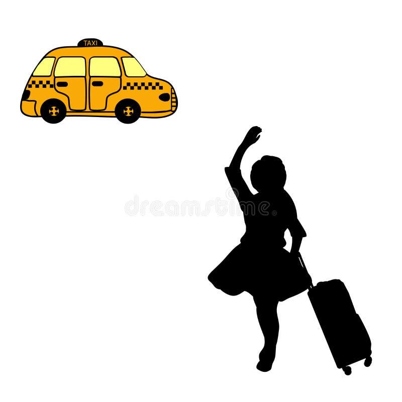 Девушка силуэта с чемоданом улавливает такси иллюстрация вектора