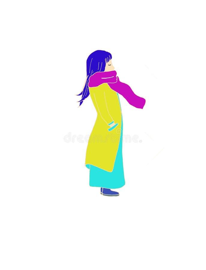 девушка сиротливая иллюстрация вектора