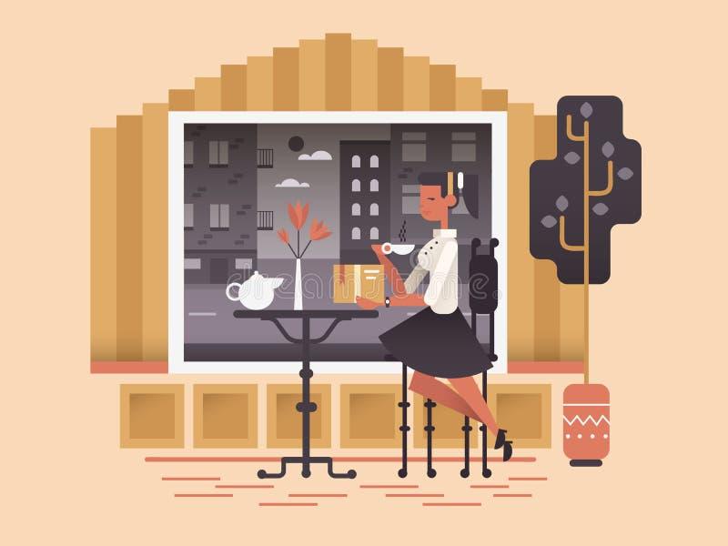 Девушка сидит в кафе иллюстрация вектора
