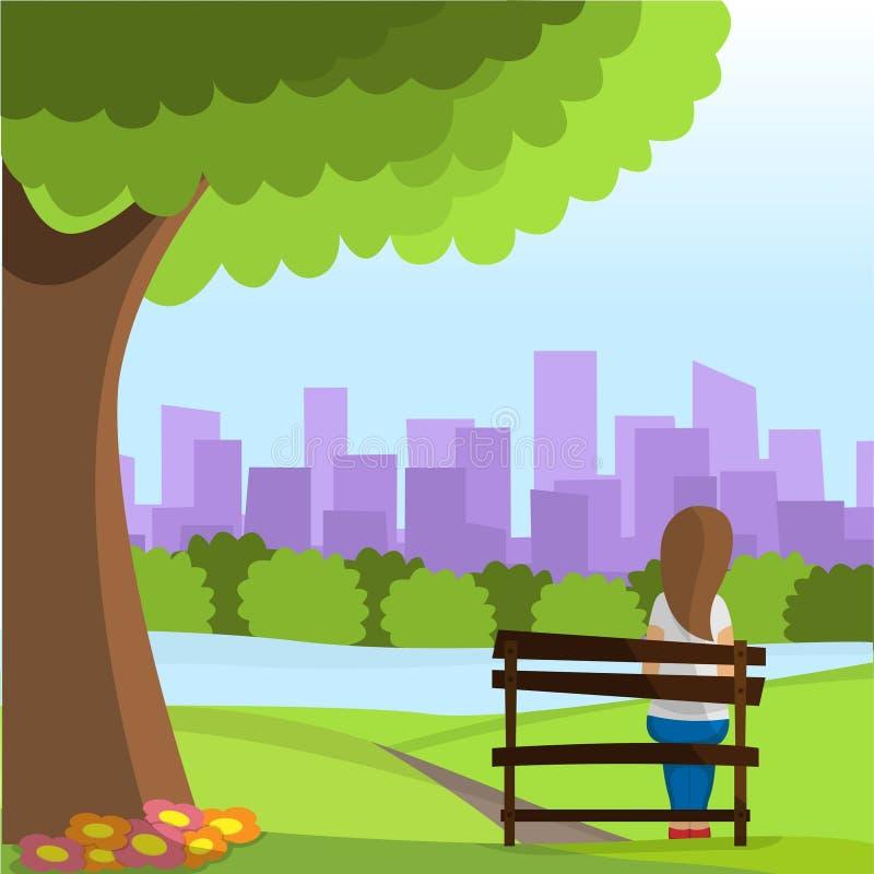Девушка сидит на парке иллюстрация вектора