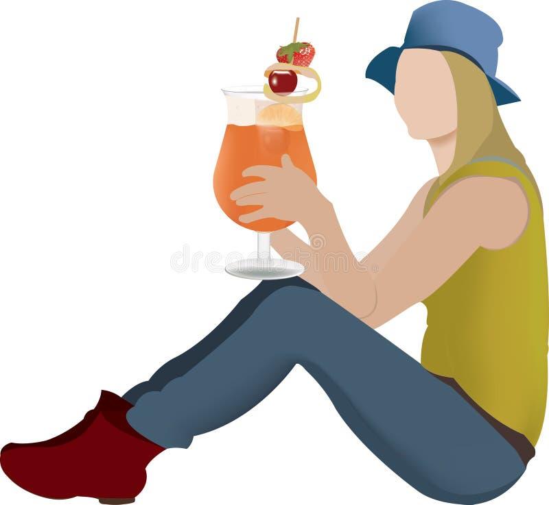 Девушка сидя с капанием фруктового сока иллюстрация вектора