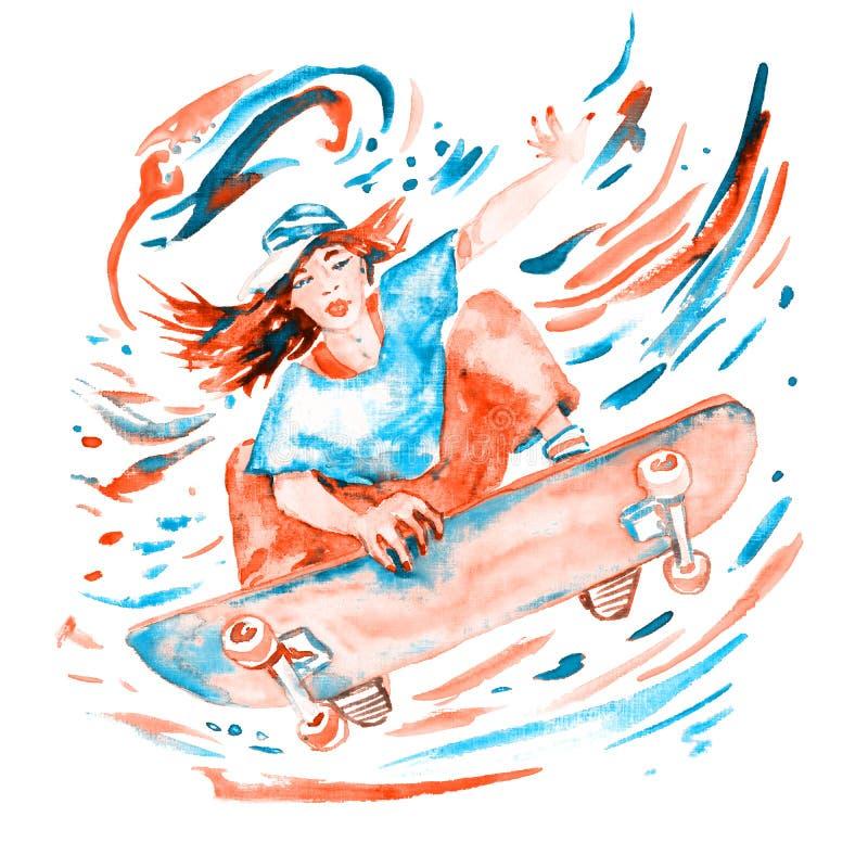 Девушка скача на палитру скейтборда, красных и голубых цветов иллюстрация штока