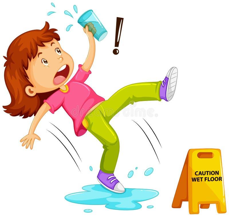 Девушка смещая на влажный пол бесплатная иллюстрация
