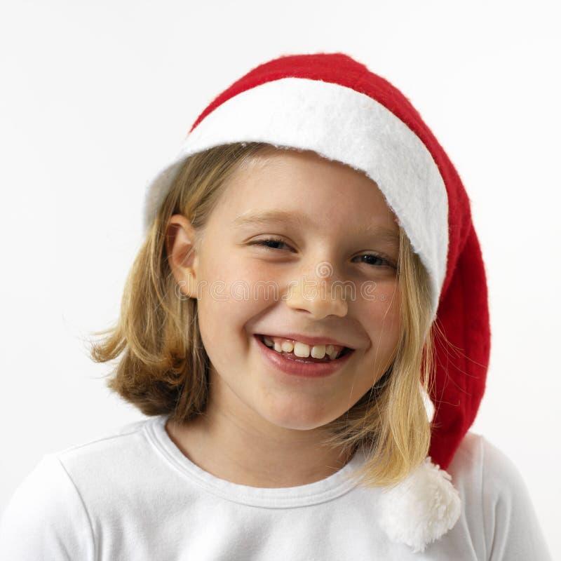 девушка смеясь над santa стоковое изображение rf