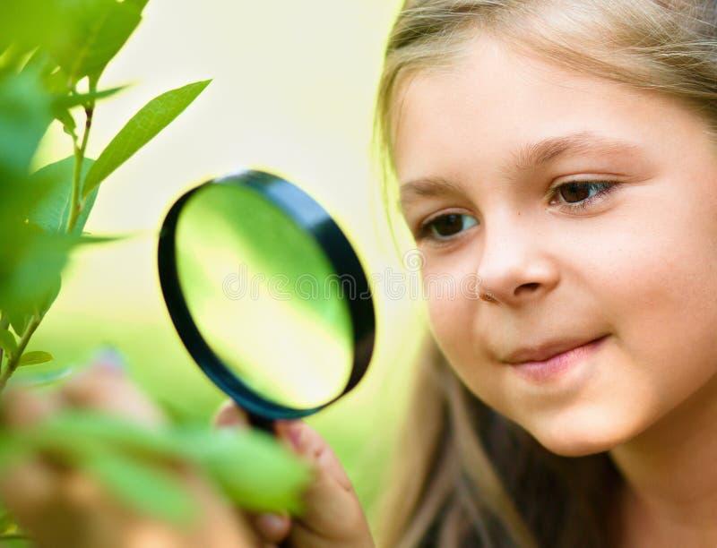 Девушка смотрит листья дерева через увеличитель стоковые фотографии rf