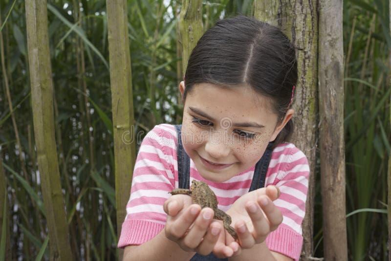 Девушка смотря жабу стоковая фотография