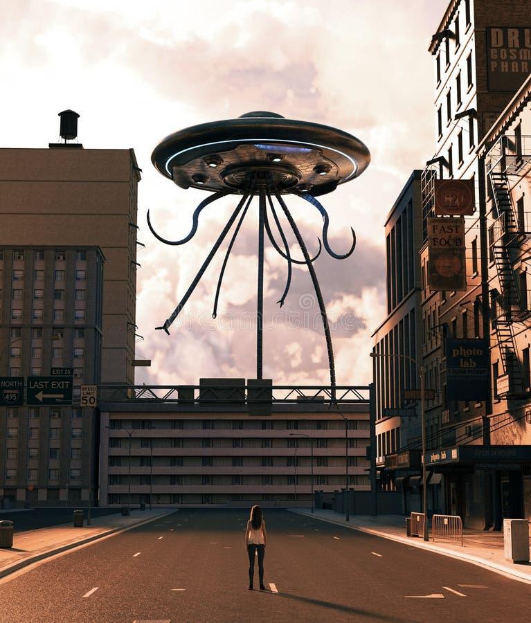Девушка смотря поддонник UFO в получившемся отказ городе иллюстрация вектора