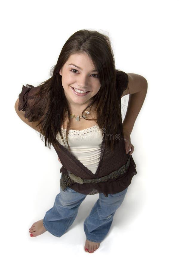девушка смотря предназначенное для подростков поднимающее вверх стоковые изображения rf