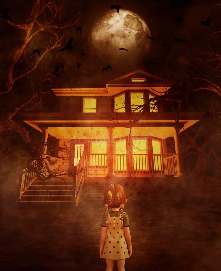 Девушка смотря преследовать дом бесплатная иллюстрация