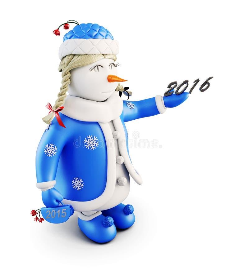 Девушка снега с Новым Годом Снеговик-девушка на белой предпосылке 3 иллюстрация вектора