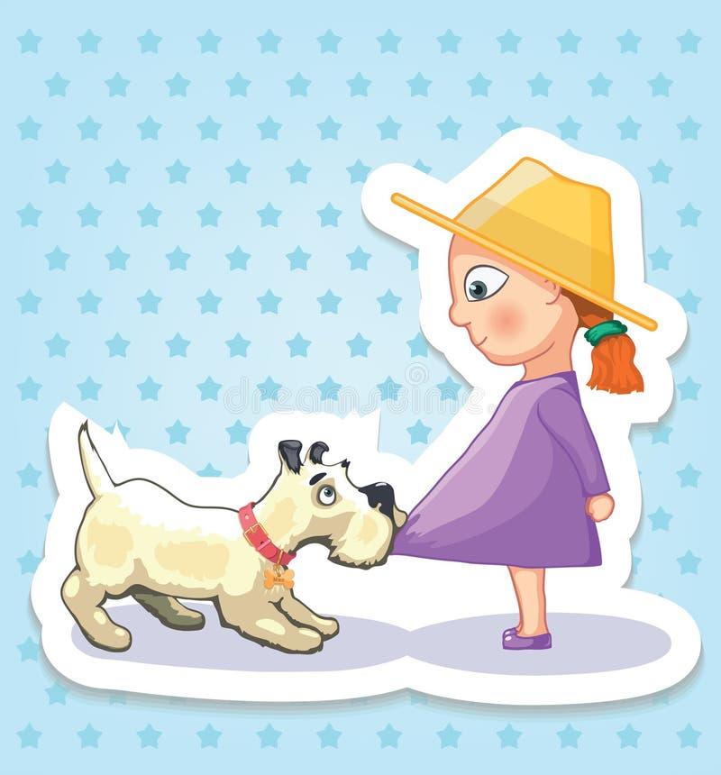 девушка собаки немногая Счастливое детство детей Смешные стикеры стоковое изображение