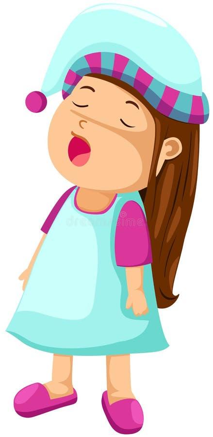 девушка сонная иллюстрация штока