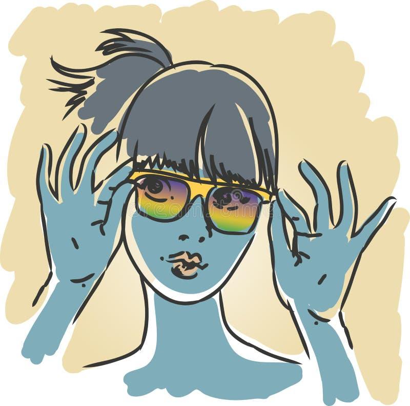 Девушка солнечных очков ретро бесплатная иллюстрация