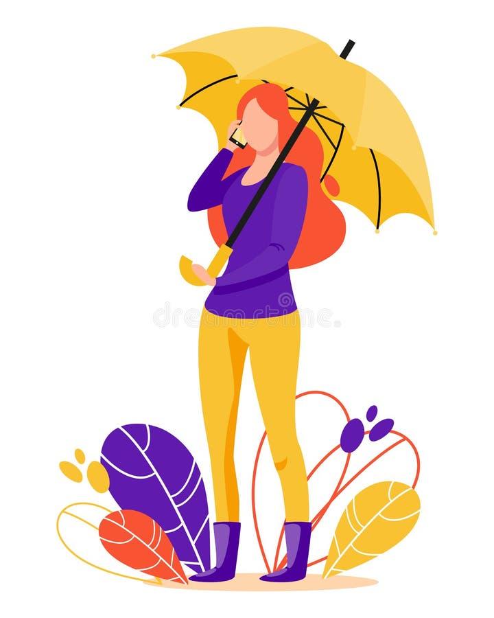 Девушка со стойками мобильного телефона под зонтиком стоковое изображение rf