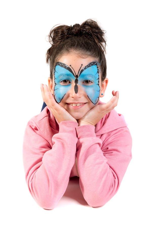 Девушка со сторон-краской стоковое изображение
