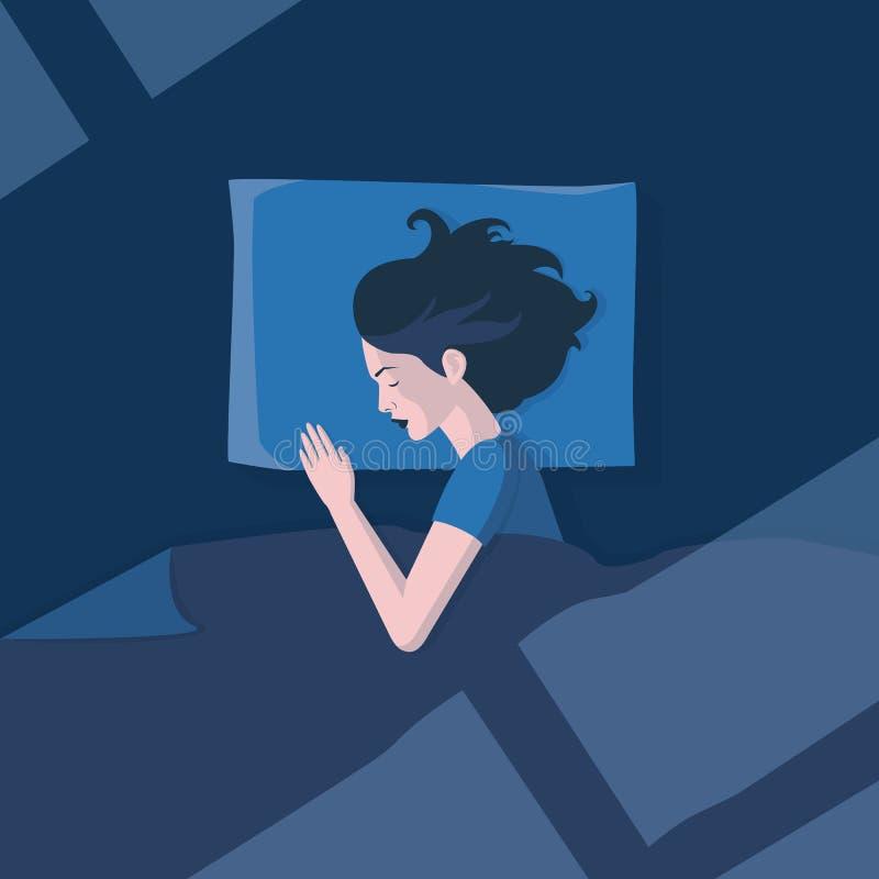 Девушка спать в лунном свете иллюстрация вектора
