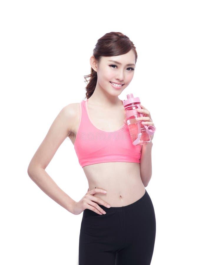 Девушка спорта с водой стоковое изображение