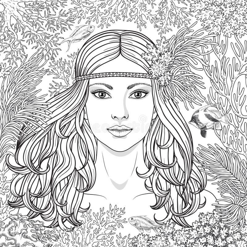 Девушка среди кораллов крася страницу иллюстрация штока