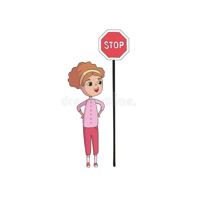 Девушка стоит за стопом знака r бесплатная иллюстрация