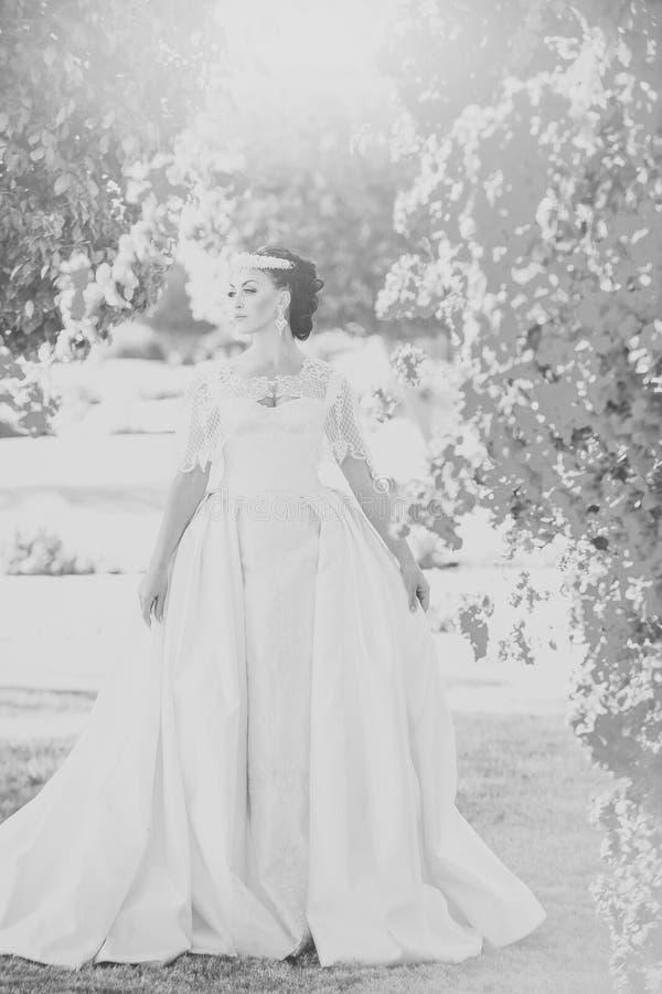 Девушка стороны для обложки журнала Портрет стороны девушки в ваше advertisnent Невеста в белом платье свадьбы представляя около  стоковые изображения rf