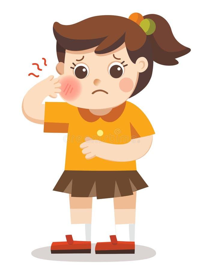 Девушка страдая от строгого toothache иллюстрация штока