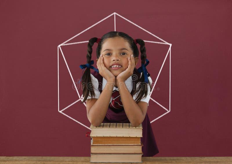 Девушка студента на таблице против красного классн классного с школой и графиком образования иллюстрация штока