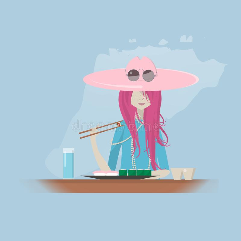 Девушка суши-ресторана ест иллюстрация вектора
