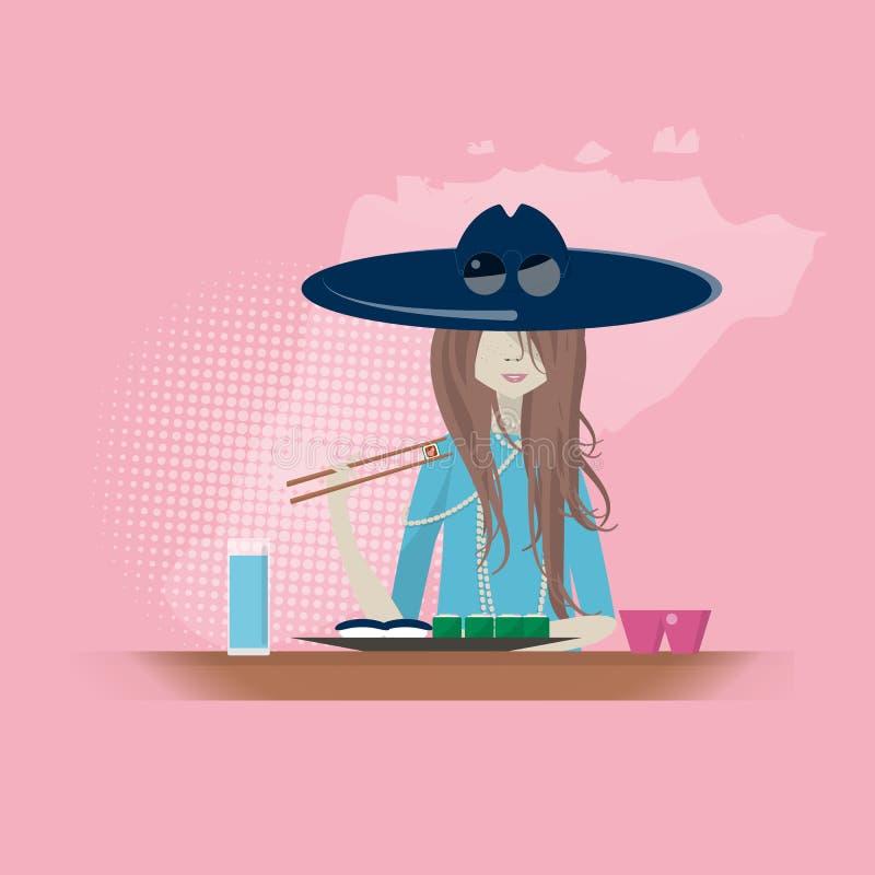 Девушка суши-ресторана ест бесплатная иллюстрация