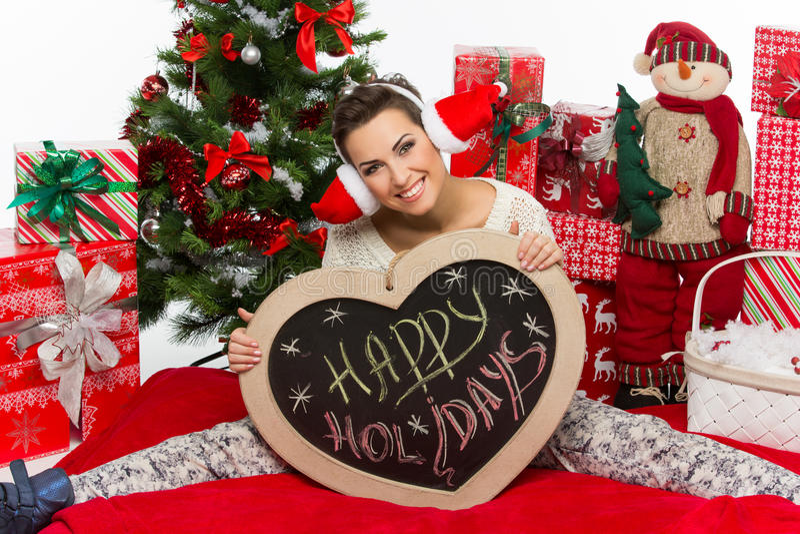 Девушка с аксессуарами рождества стоковые изображения