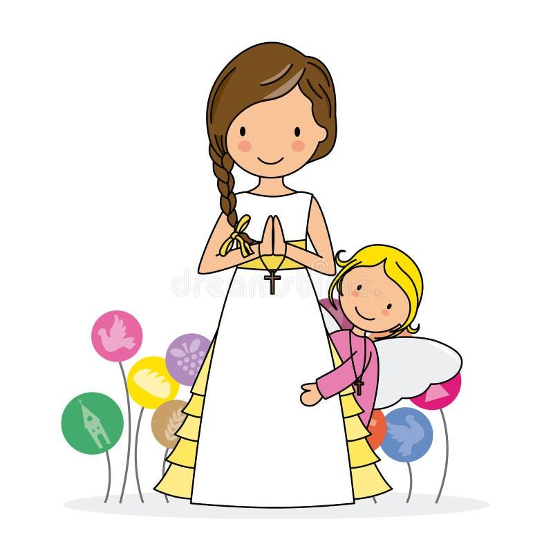 Девушка с ангелом бесплатная иллюстрация