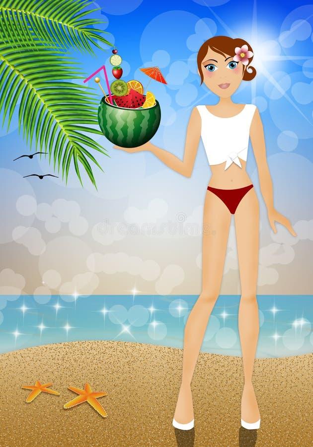 Девушка с арбузом иллюстрация вектора